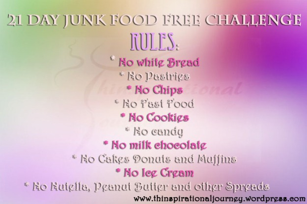 21 junk food free Challenge thinspirational Journey