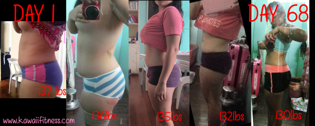 Lara Novales 68 day challenge Before and After Progress photos