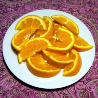 106 calories in 1 1/4 cup oranges